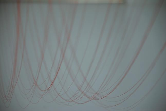 Kotted Thread -white-h220cm-distance of 50cm_2014_Silk embroidery thread#100(絹刺繍糸100番)
