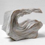 「谷 -水-1701」2017 木(樟)、アクリル絵の具 h14.2×w22×d11cm