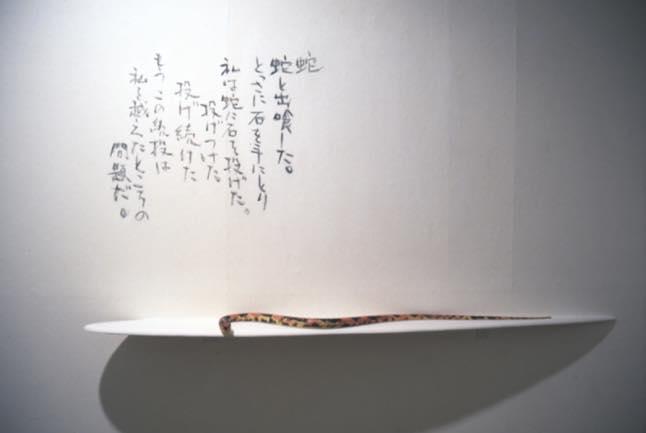 真空ー横切るもののへび 1997 離型剤、顔料、板、アクリル塗料 133×17.5cm