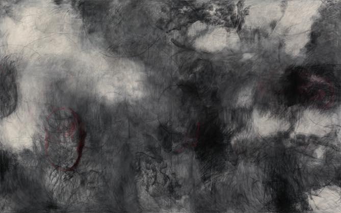 Untitled 2012 綿布に木炭,パステル h2273×w3622mm