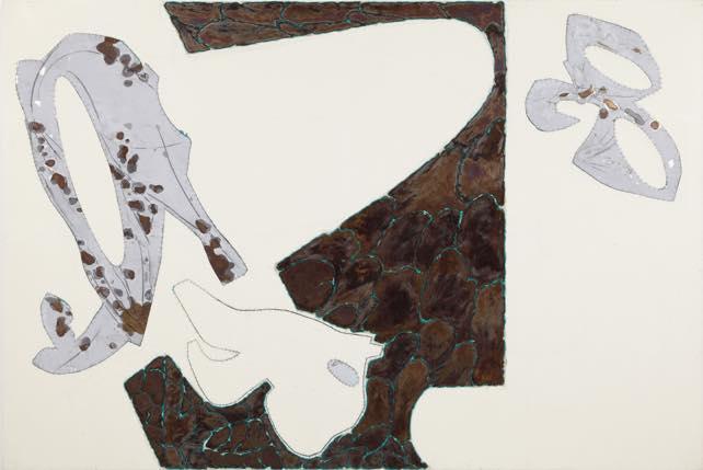 「亀Ⅲ」2011 酸化皮膜したアルミニウム、錆、アクリル、キャンバス  h130×w194cm
