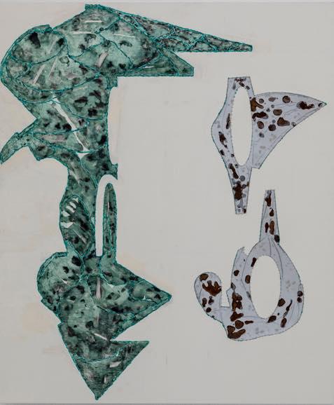 「アリス」2018 キャンバス、酸化被膜したアルミニウム、アクリル 194×162cm
