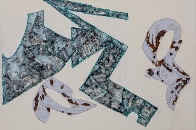 「三角の視線」2018 キャンバス、酸化被膜したアルミニウム、アクリル 130×194cm