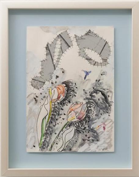 「視線を浴びる」2020 紙、アルミ板、水彩絵の具 385x265mm