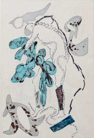 「彼女の持つ物」2020 キャンバス、アルミ板、アクリル絵具 1940x1300mm(120F)