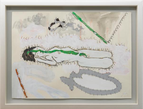 「緑の筋を横切る」2020 紙、アルミ板、水彩絵の具 394x546mm