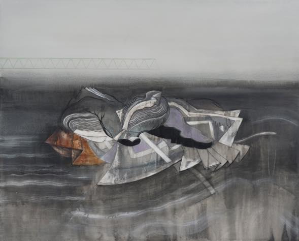 アスファルトの地面の下で 2019 綿布、水性絵具、パネル 83×100cm