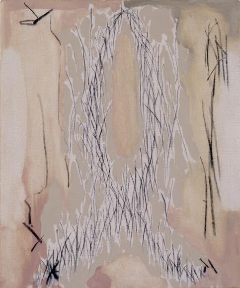ℓ字型-左右の停止-Vへ-a  1986 キャンバスに油彩、木炭 45.5 x 37.9 cm