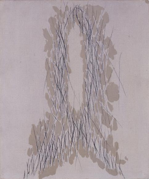 ℓ字型-左右の停止-Vへ-b 1986 キャンバスに油彩、木炭 45.5 x 37.9 cm