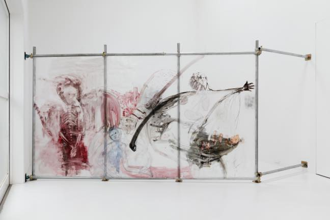 17.7.17_2017 アクリル板に油彩、単菅パイプ 220×405cm
