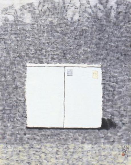景ー朝 2001 墨、コンテ、胡粉、韓紙 h81×w65cm