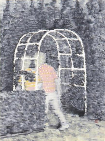 景ー門Ⅱ 2001 墨、コンテ、胡粉、韓紙 h53×w40cm
