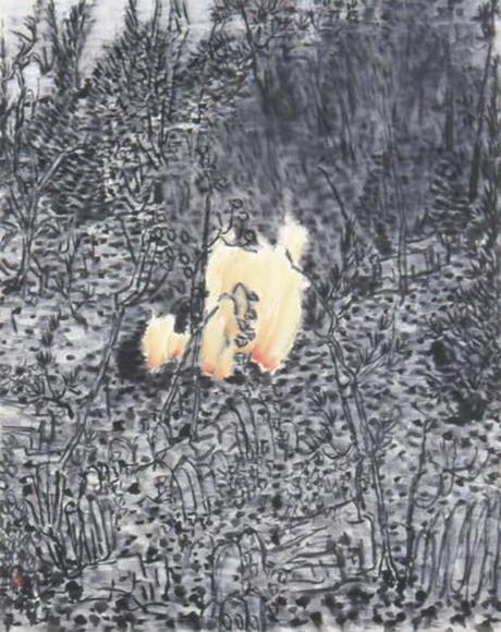 私の庭 2001 墨、コンテ、胡粉、韓紙 h81×w65cm