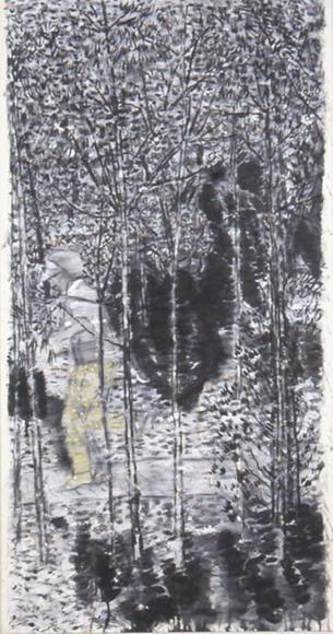 窓を出ている風景Ⅰ 2001 墨、コンテ、胡粉、韓紙 h149×w80cm