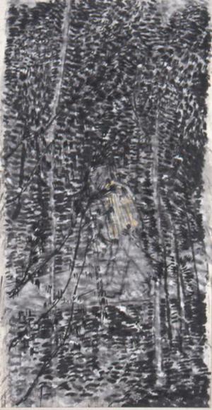 窓を出ている風景Ⅱ 2001 墨、コンテ、胡粉、韓紙 h149×w80cm