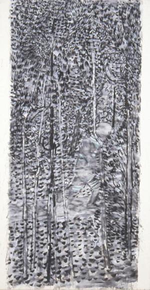 窓を出ている風景Ⅲ 2001 墨、コンテ、胡粉、韓紙 h149×w80cm